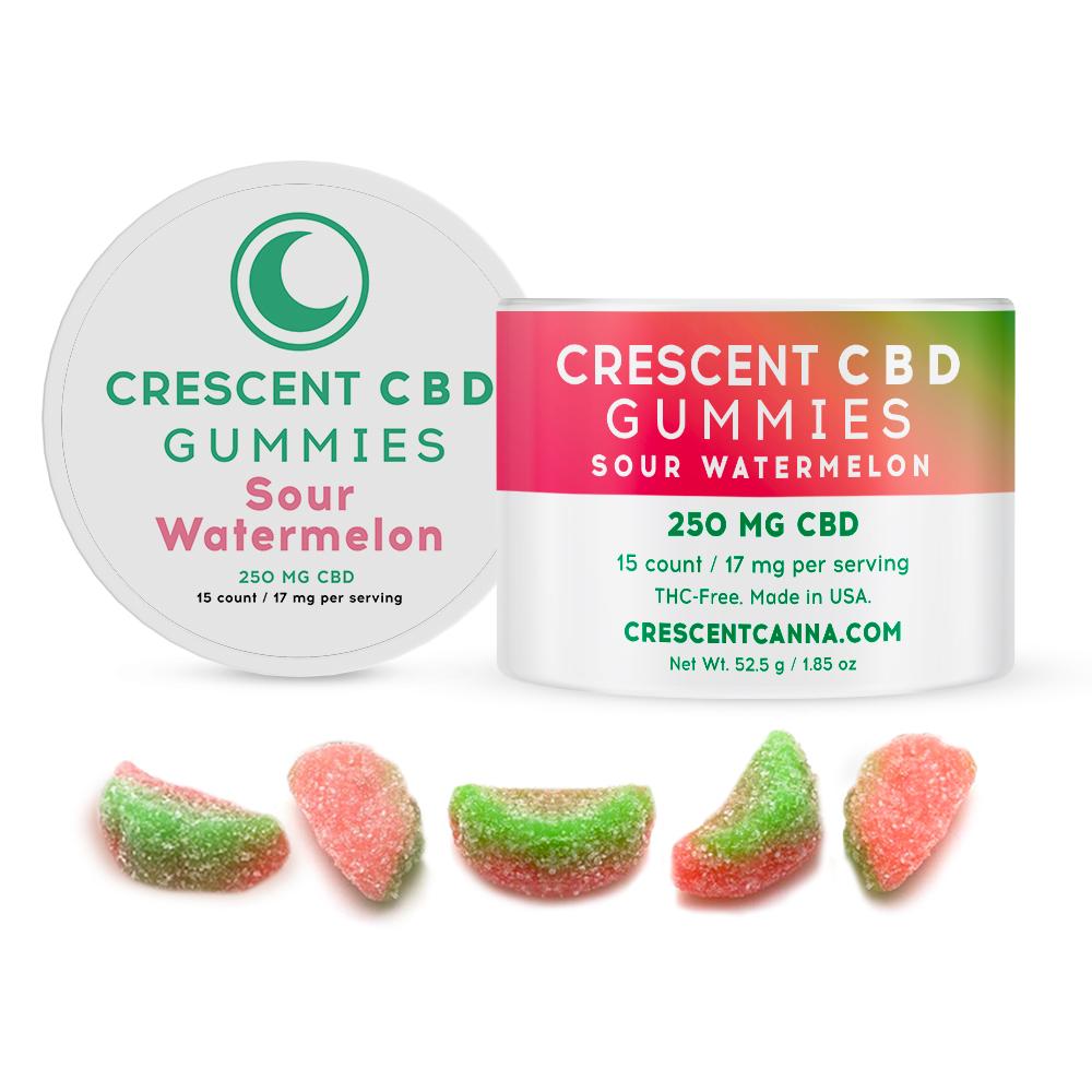 CBD Sour Watermelon Gummies - 17 mg CBD per Gummy
